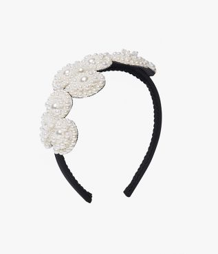 Faux Pearl Beaded Flower Headband
