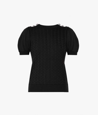 The Belva Jumper showcases puffed sleeves and crystal embellished buttons at the shoulder.