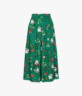 Romantic florals print skirt with incorporates olive leaves, white roses, and small blue and red flowers.