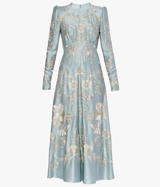 Erdem Brinton Dress Ashcombe Forest Damask Threadwork Satin
