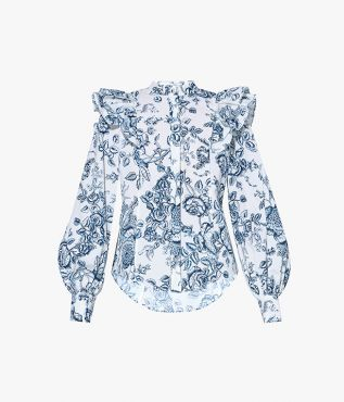 Caterina Blouse Toile de Jouy Cotton Poplin