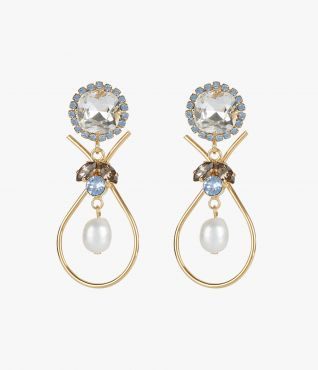 Clip on earrings with suspended faux pearls in the centre.