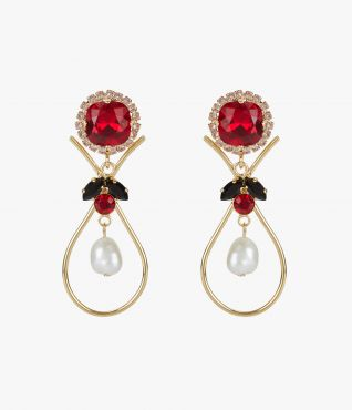 These gold-tone teardrop earrings feature an array of red, black, and clear crystals.