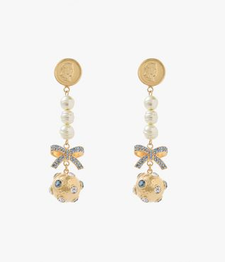 Erdem Blue Crystal Ball Drop Earrings