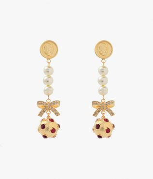 Erdem Red Crystal Ball Drop Earrings