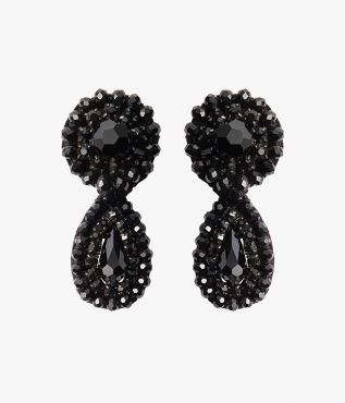 Black Crystal Beaded Drop Earrings