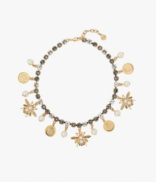 Erdem Grey Crystal Bee Charm Necklace