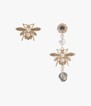 Grey Crystal Bee Earrings