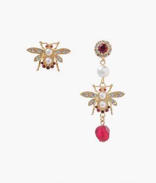 Erdem Red Crystal Bee Earrings