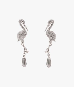 Erdem Grey Crystal Crane Earrings