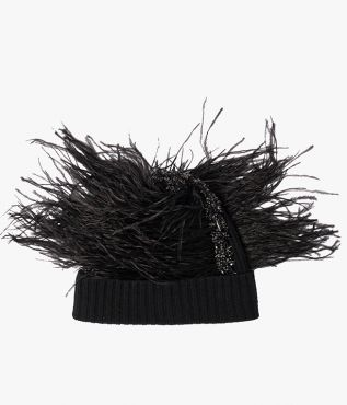 Erdem Crystal Feather Beanie Hat