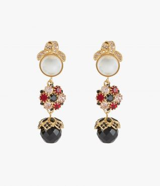 Earrings with crystal-embellished knotted motifs, faux pearls, and clusters of black, red and clear crystals.