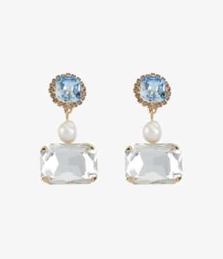 A unique pair of earrings from Erdem with blue and clear crystals and faux pearls.