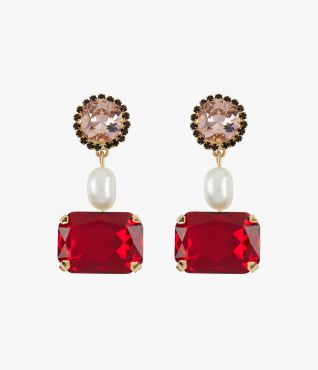 Drop earrings with red crystals and faux pearls from Erdem.
