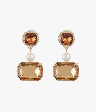 Statement earrings combining smoked topaz crystals with faux pearls.