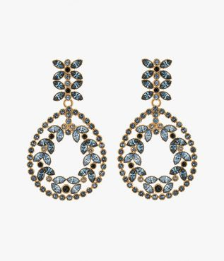 Erdem Blue Crystal Statement Earrings