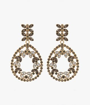 Erdem Grey Crystal Statement Earrings