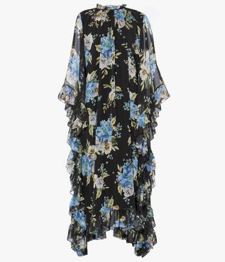 Erdem Darence Dress Carnation Bouquet Silk Voile