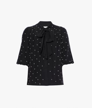 Erdem Dolly Top Baba Ditsy Embroidered Crepe de Chine
