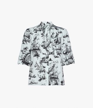 Blue Dolly Top Ernest Dream Crepe by Erdem