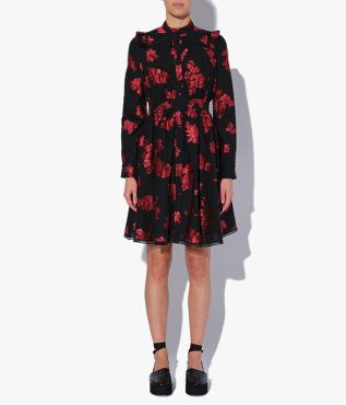 Elayne Dress from Erdem, decorated with subtly textured florals in black and red.