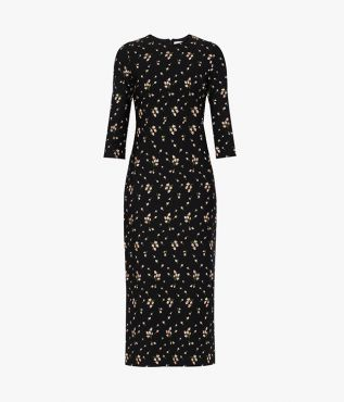Evanna Dress Bud Embroidered Ponte Jersey Black