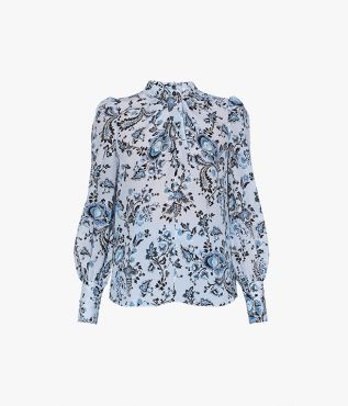 Erdem Fayola Top Graphic Vine Silk Crepe De Chine