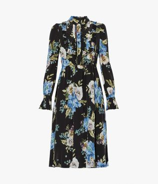 Erdem Gregory Dress Carnation Bouquet Silk Crepe de Chine