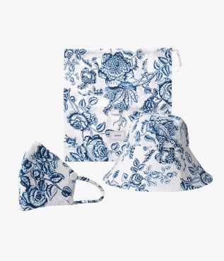 Hat, Mask and Pouch Set Toile de Jouy Poplin