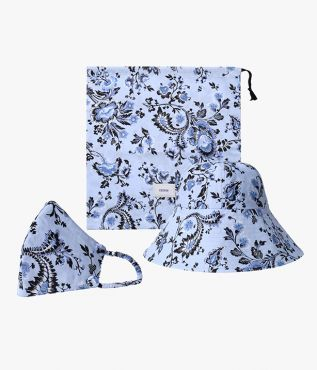 Conflower blue face mask set from ERDEM, also containing a matching bucket hat and useful pouch