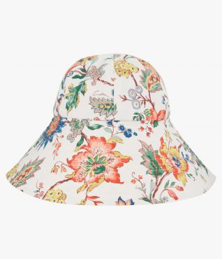 This stylish sun hat is a summertime essential with its wide-brim and multicoloured floral design.