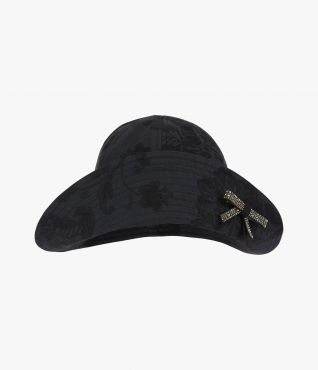 This bucket hat is made from cotton jacquard and embellished with a crystal-encrusted bow.