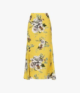 Erdem Ivetta Skirt Carnation Bouquet Cotton Canvas