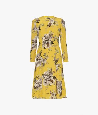 Erdem Ivor Dress Carnation Bouquet Crepe