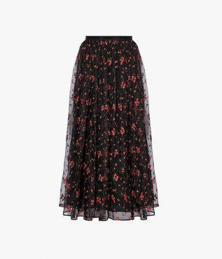 Erdem Lindie Skirt Bud Embroidered Organza