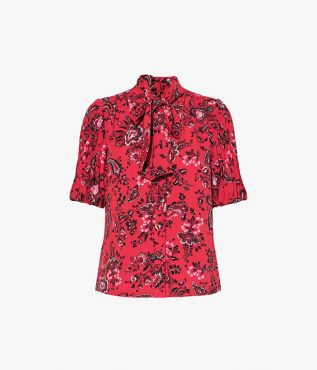 Erdem Madelyn Top Graphic Vine Crepe