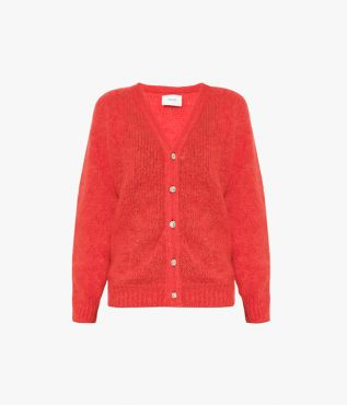 Marcilly Cardigan Mohair Knit Red Erdem