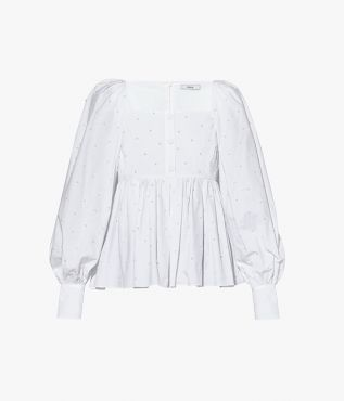 Erdem Noria Top Baba Ditsy Embroidered Cotton Poplin