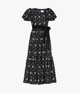 Erdem Palomina Dress Bud Embroidered Linen