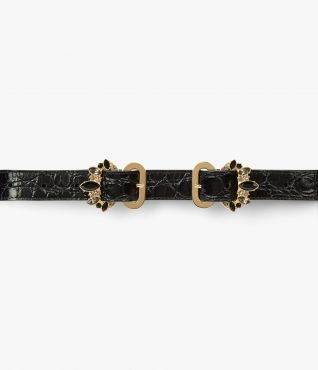 Black Jewel Buckle Narrow Belt Erdem