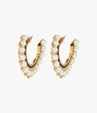 Cluster Hoop Earrings Black Gold Erdem