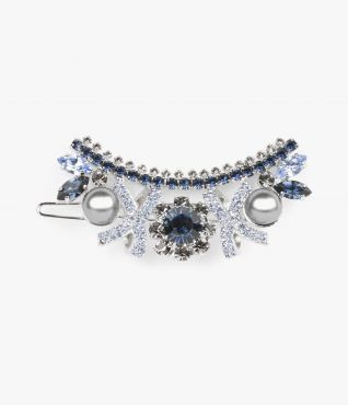 Crystal Bow Hair Barrette Blue