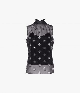 Erdem Koren Top Linfield Dot Embroidery