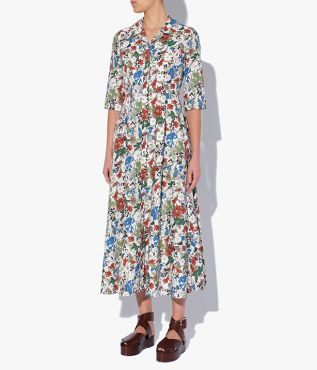 Mid Length Shirt Dress in the painterly Charleston Lawn print, a watercolour design discovered in Liberty's archive.