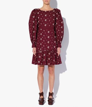 Rydal mini dress from Erdem with a boat neck and puffed shoulders.