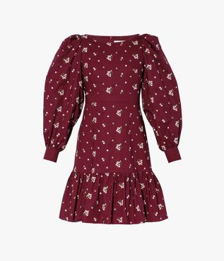 Rydal Dress, crafted from embroidered cotton poplin in a rich shade of burgundy.