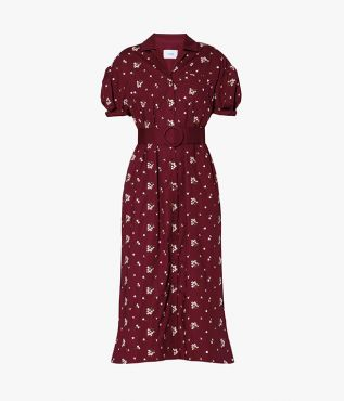 The Frederick Shirt Dress in burgundy cotton poplin is embroidered with white flowers.