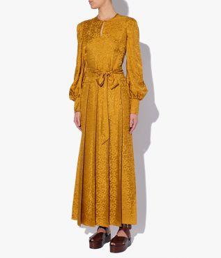 Erdem dress with relaxed shape where a keyhole neckline and long blouson sleeves combine.