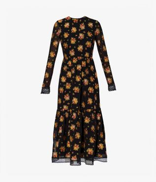 The Murl Dress in black is decorated with colourful bouquets and trimmed in delicate lace.