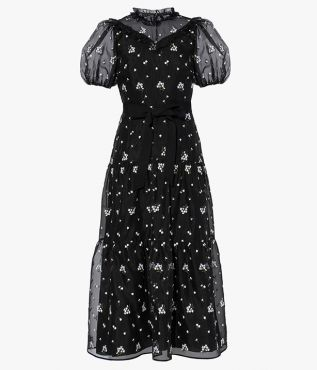 Crafted from airy black organza, the Pearline Dress is decorated with ditsy white embroidery.